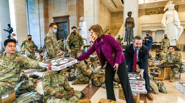 Members of the National Guard gathered at the Capitol Visitor Center