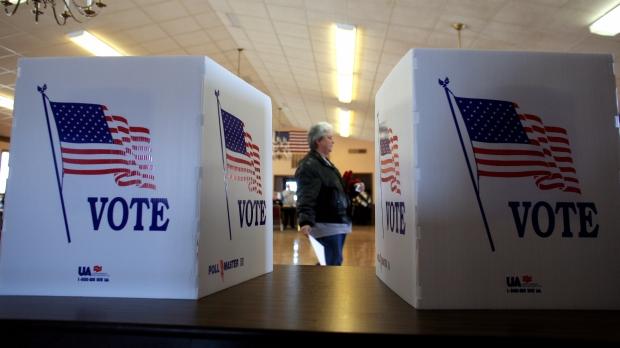 Voting booths in Saukville