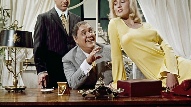 """Lee Meredith with Zero Mostell and Gene Wilder in a scene from the movie """"The Producers"""""""