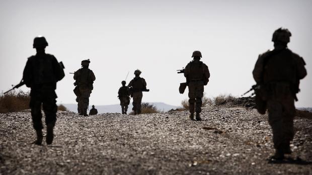 Soldiers patrol in Afghanistan War