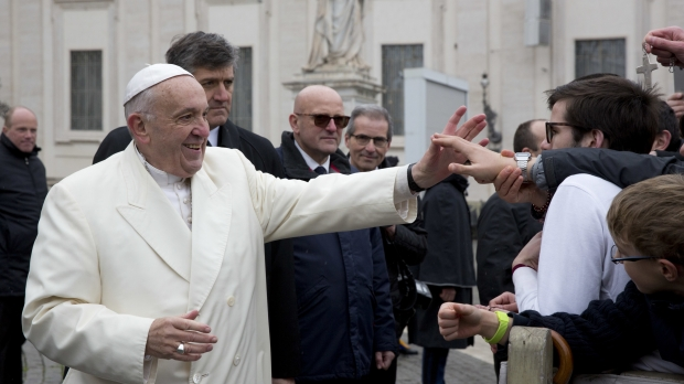 Pope Francis greets crowd at the Vatican