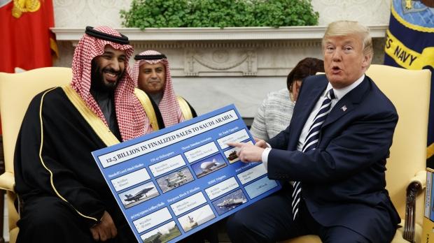 President Donald Trump meets with Saudi Crown Prince Mohammed bin Salman