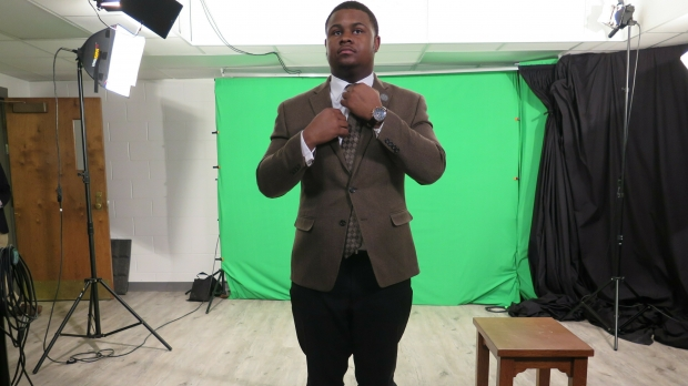 State Rep. Kalan Haywood prepares to record a video