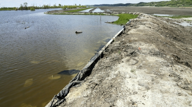 Makeshift levee along the Missouri River in Iowa