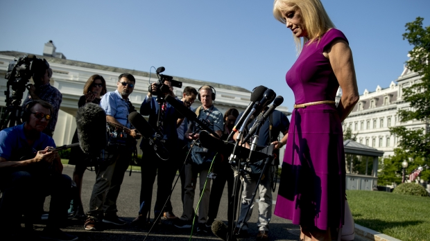 Kellyanne Conway speaking to reporters