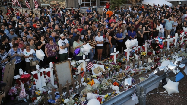 Makeshift memorial at scene of August 2019 mass shooting in Texas