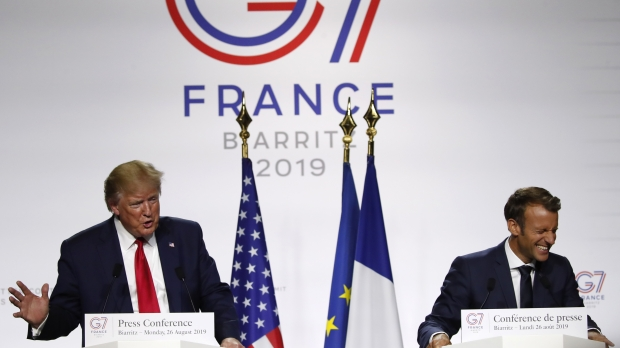 U.S. President Donald Trump and French President Emmanuel Macron