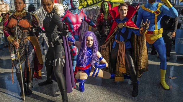Costumed Superheroes at Convention