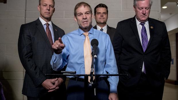 Republican lawmakers, from left, Rep. Scott Perry, R-Pa., Rep. Jim Jordan, R-Ohio