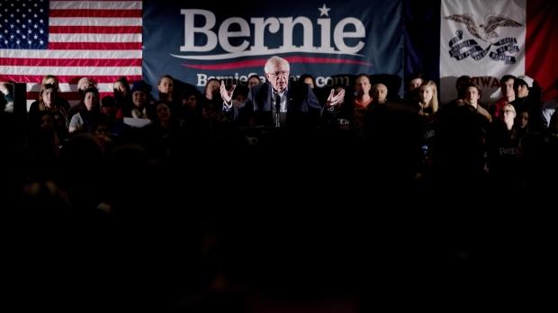 Bernie Sanders speaks at a climate rally
