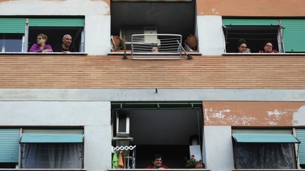 Neighbors in Italy under coronavirus quarantine
