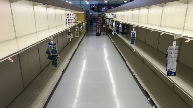 Empty shelves at a grocery store in Willow Grove, Pa.