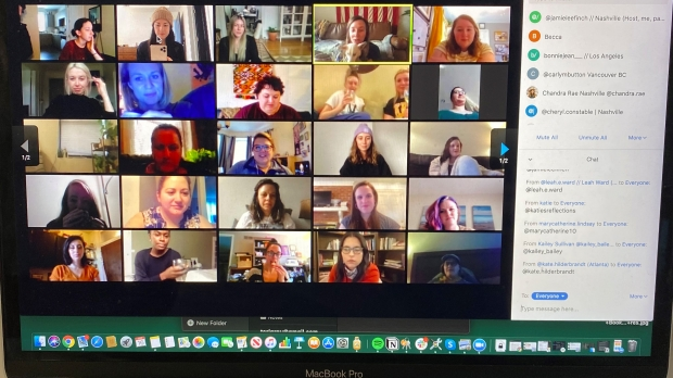 People gathered together online for a virtual happy hour