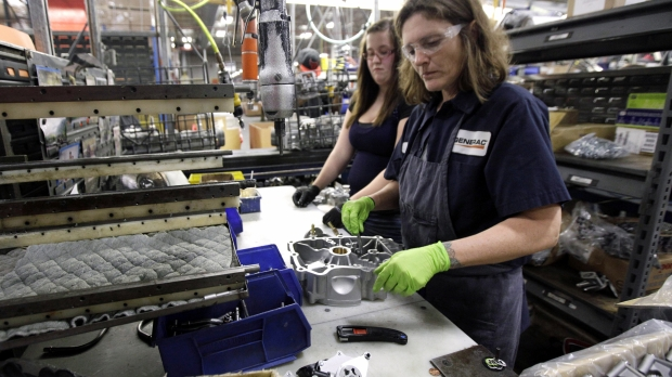 Workers on an assembly line in Whitewater