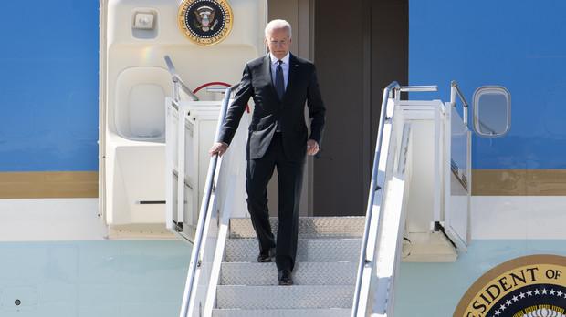 President Joe Biden steps off Air Force One
