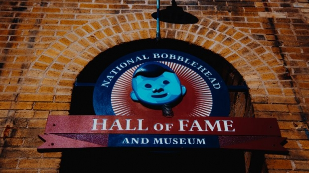 The exterior of the National Bobblehead Hall of Fame and Museum