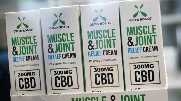 Packages of CBD muscle and joint relief cream on display