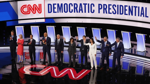 Democratic Presidential candidates are introduced before a primary debate