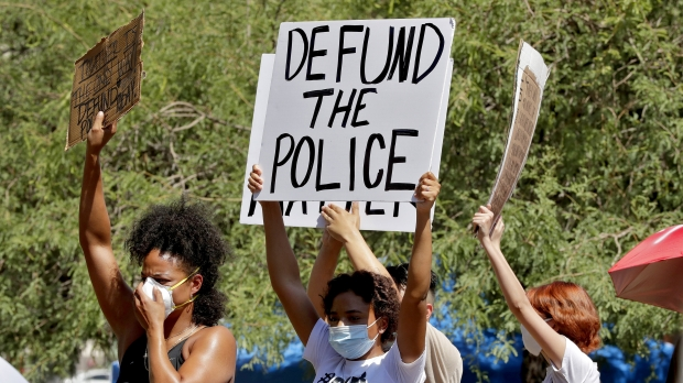 Profesters demand the Phoenix City Council defund the Phoenix Police Department