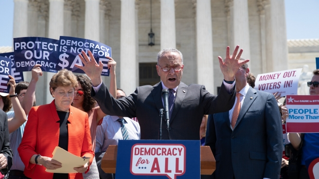Democrats announce a constitutional amendment to overturn the Citizens United ruling.