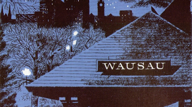 Image of the Wausau train depot used in ads for Wausau Insurance