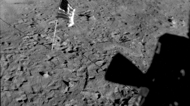 This July 21, 1969 photo made available by NASA shows the U.S. flag planted at Tranquility Base on the surface of the moon.