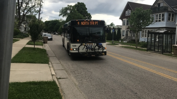 A bus rolls to a stop in Madison