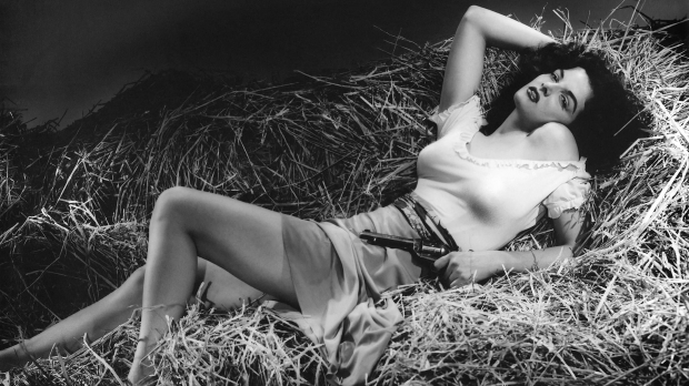 "Jane Russell in the 1943 film, ""The Outlaw"""
