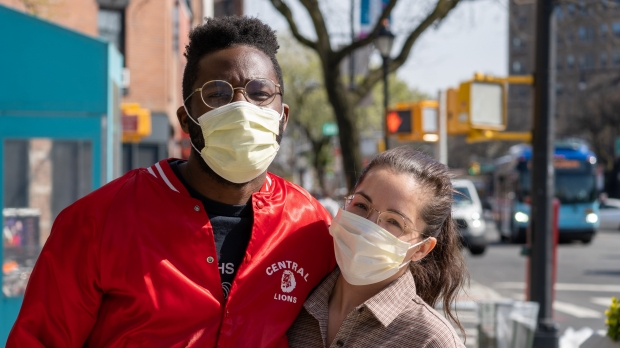 A couple wearing face masks during the coronavirus pandemic