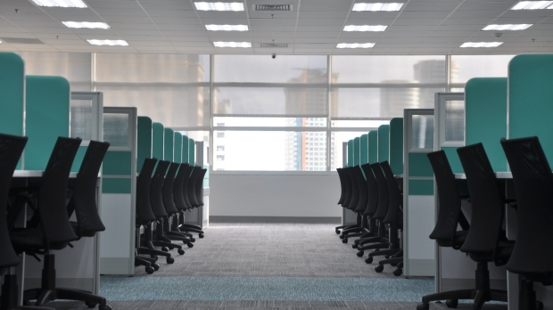 Empty office cubicles