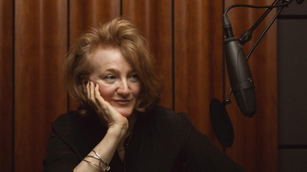 """On Being"" host Krista Tippett at the microphone"