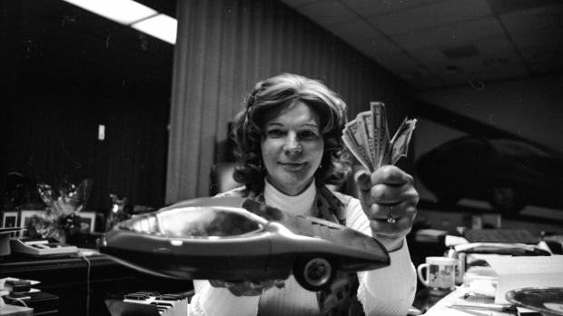 """Liz Carmichael in her office with a model of """"The Dale"""". The HBO Documentary Series, """"The Lady And The Dale"""" is available on HBO andHBO MAX. (Photo Courtesy HBO)"""