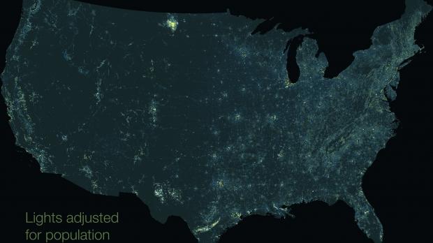light pollution rural energy map