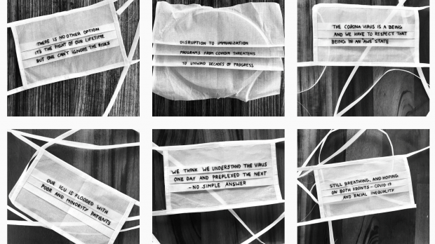 A black and white collage of photos of six cloth face masks emboridered with quotes from health care workers.