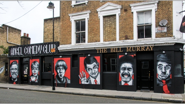 street art depicting comedians outside comedy club in Islington, London (Artist: Zabou)