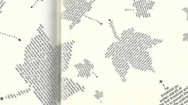 """pages 280 and 281 of Steven Hall's novel, """"Maxwell's Demon"""" featuring typographical element leaves"""