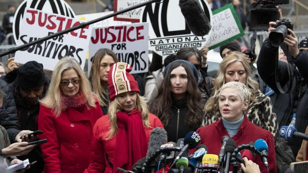 Actors Rose McGowan and Rosanna Arquette speak outside a Manhattan courthouse