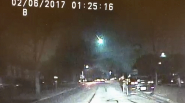 Dashcam video showing a meteor as it streaked over Lake Michigan early Monday morning, Feb. 6, 2017