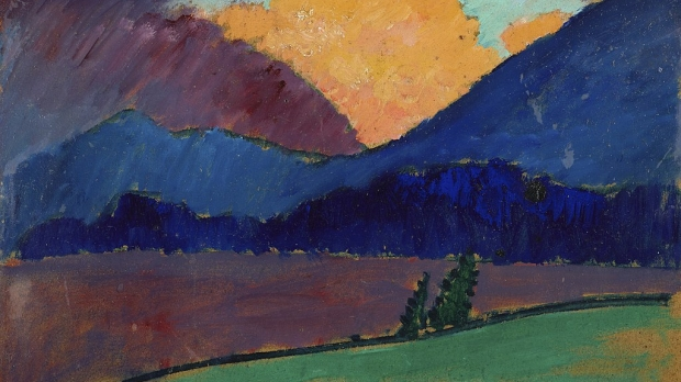 A moody landscape painting with lots of cool colors like blue mountains.