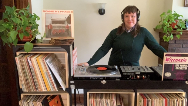 DJ Stacy Harbaugh with her polka records