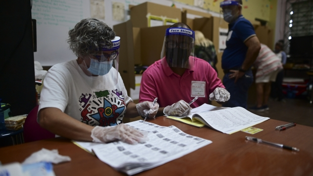 Poll workers in PPE count ballots in Puerto Rico