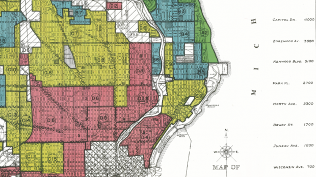 Map of redlining in Milwaukee