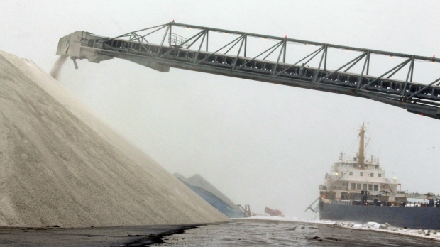 A ship unloading salt at the Port of Milwaukee