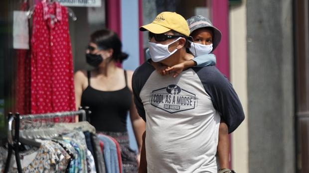 Shoppers wearing masks