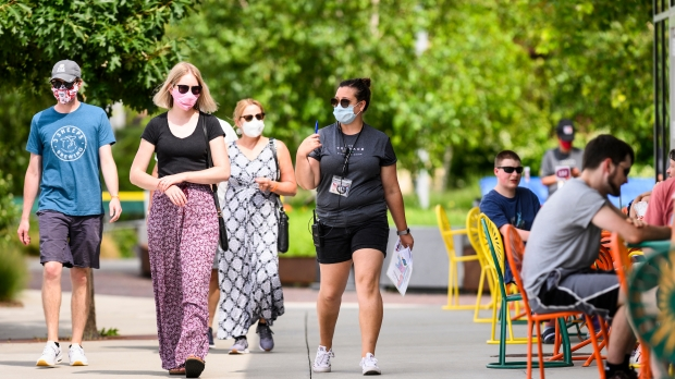 Patrons wearing masks at UW-Madison's Memorial Union Terrace