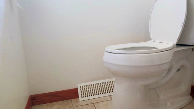 A toilet in a bathroom