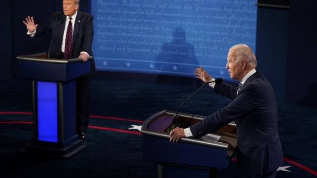 President Donald Trump and former Vice President Joe Biden debate on Sept, 29, 2020