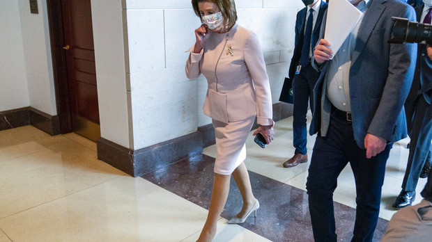 House Speaker Nancy Pelosi of Calif., arrives for her weekly news conference on Capitol Hill in Washington