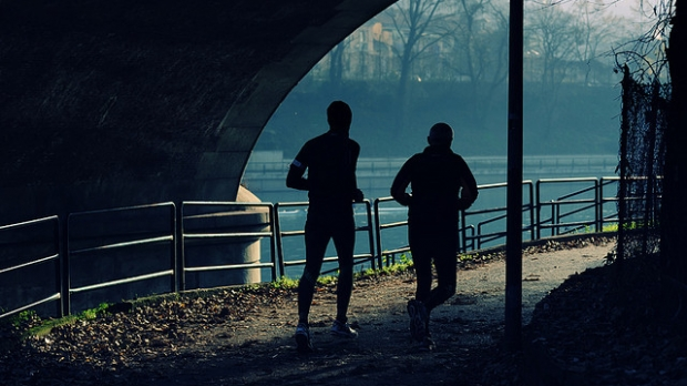 joggers on a path