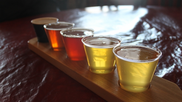 Flight of Beers at Lakefront Brewery in Milwaukee